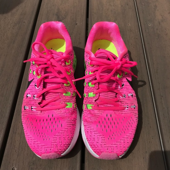 Nike bright pink running shoes